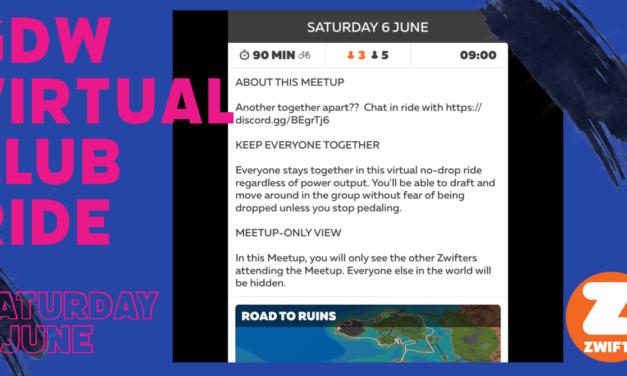 GDW Virtual Club Ride – Saturday 6th June @ 9.00 am